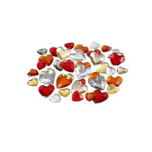 kristalčki rdeči in zlati srčki
