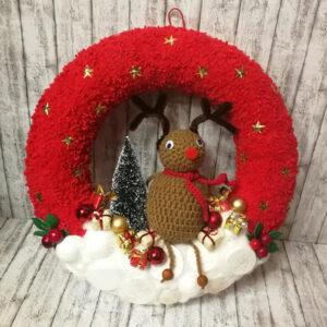 Kvačkan adventni venček za na vrata z jelenčkom